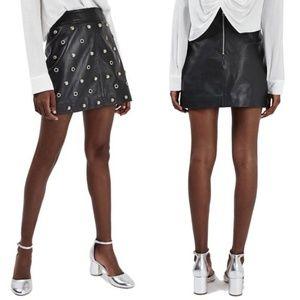 TOPSHOP Stud & Grommet Leather Miniskirt Studded
